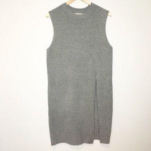 OAK & FORT long gray sweater vest with slit